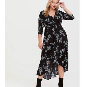 Torrid Black Floral High-Low Challis Dress size 2X